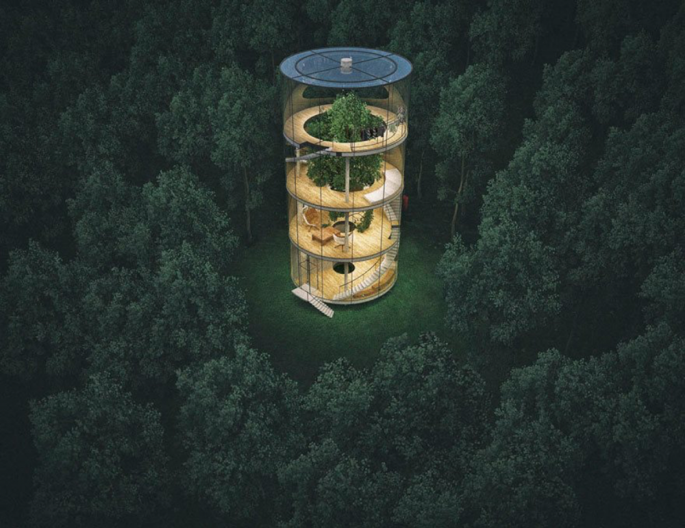 Instead Of Cutting This Tree Down, Why Not Build A Tubular Glass House Round It
