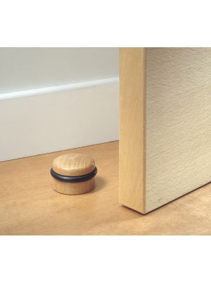 Large Round Wooden Door Stop with Rubber Bumpers