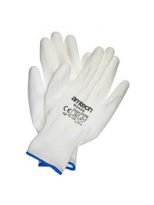 Light Duty PU Coated Work Gloves White XL (Size: 10)