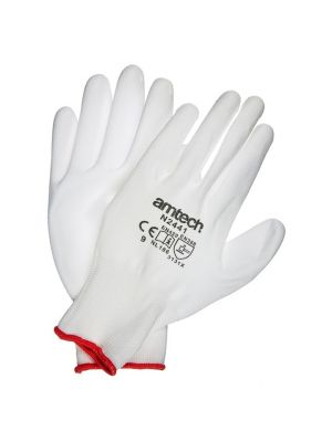 Light Duty PU Coated Work Gloves White Large (Size: 9)