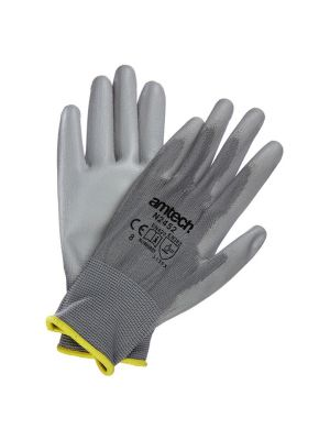 Light Duty PU Coated Palm Gloves Grey Medium (Size: 8)