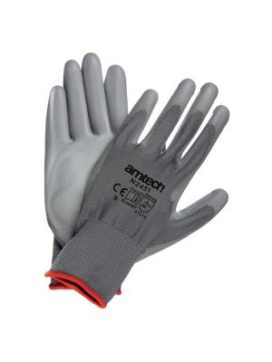 Light Duty PU Coated Palm Gloves Grey Large (Size: 9)