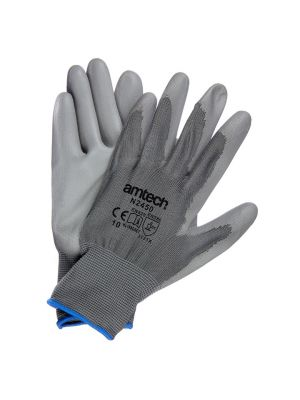 Light Duty PU Coated Palm Gloves Grey XL (Size: 10)