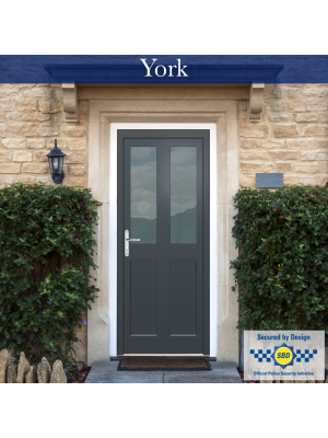 Aluminium Front Door, PAS24 Tested,  Frosted Glass